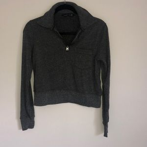 Grey 1/4 zip crop sweater. Worn once.